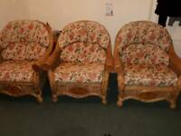 3 x Wicker armchairs