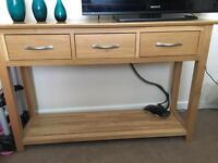 Solid oak console table.