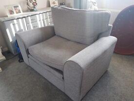 Grey sofa and cuddle chair