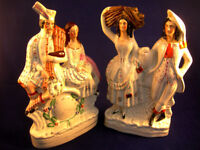 """Staffordshire Figures (2) 12"""" Tall Some signs of age one head repaired (WH_3198)"""