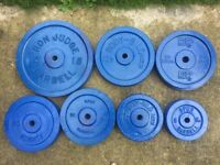 137KG OF PAIRED CAST IRON WEIGHT PLATES