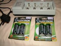 LLOYTRON CHARGER + 4 X 3000ma RECHARGEABLE 'C' BATTERIES NEVER BEEN USED, STILL IN PACKAGES