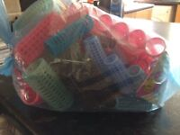BAG OF ASSORTED HAIR ROLLERS