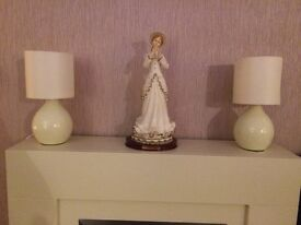 2 X SMALL CREAM BEDSIDE LAMPS