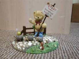 "WONDERFUL WORLD OF RAMBLING TED- BEAR W/STOP SIGN FIGURINE ""HEDGEHOGS CROSSING"""
