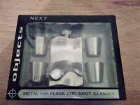 METAL HIP FLASK & 4 x SHOT GLASSES Boxed By NEXT
