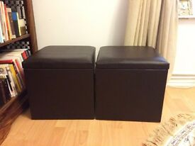 Brown leather stools! Good condition! x2 SPACIOUS INSIDE