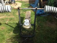 Weights bar and bench