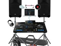 """DJ & PA Speaker Hire Package / 2x 1000W 15"""" Speaker / XDJ-RX / USB + Laptop + Leads"""