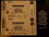 3 WWE Raw Live Tickets at Manchester Arena 6th November