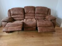 LOVELY BROWN SUEDE LEATHER RECLINER 3+_2 SEATER SOFAS - MUST GO TODAY TODAY - CHEAP DELIVERY - £275