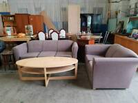 Light brown 3 seater and 2 seater sofas