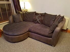 Grey and plum chaise suite of furniture