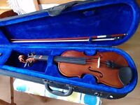Hans Joseph Hauer 1/2 size violin, bow and black padded case