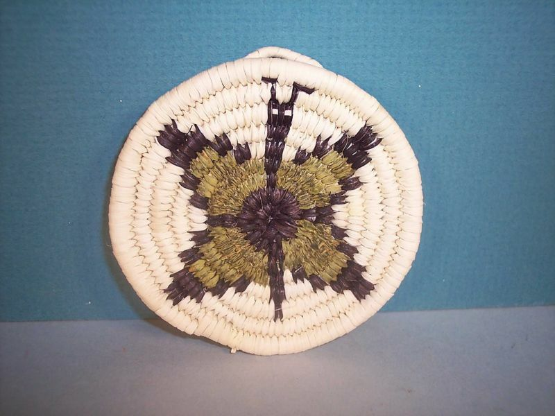Hopi Miniature Coiled Yellow Butterfly Basket by Ella  Tawahongva, NEW