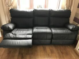 3 seater faux leather reclining sofa