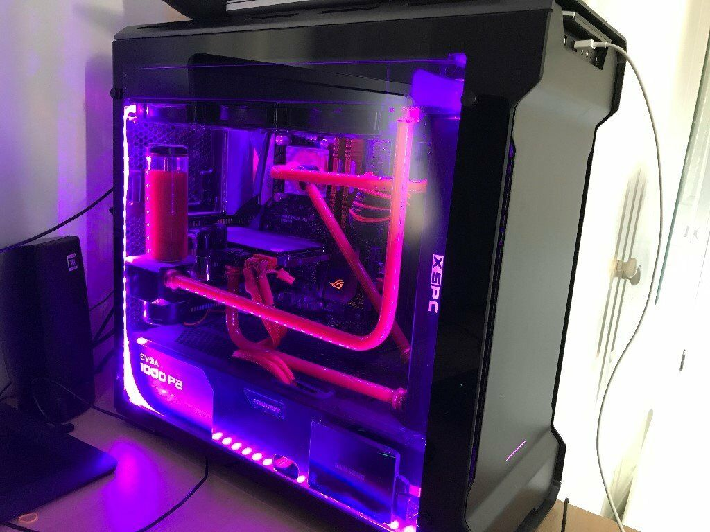 powerful gaming computer pc i7 6700k gtx 970 water cooled custom loop in sutton london. Black Bedroom Furniture Sets. Home Design Ideas
