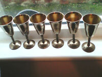 6 Large Sanish Goblets with twisted stem Brass like