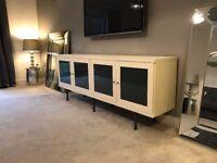 Large Modern Ivory Cream & Grey Sideboard TV Unit Cupboard Lounge ikea Dining Room Play Storage VGC