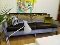 Moore's Interiors London designer 3 seater sofa in steel grey velvet RRP £2000+