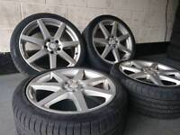 "Genuine OEM Mercedes C-Class 18"" 5x112 staggered alloy wheels + 2 tyres audi vw seat skoda"