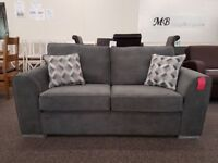 Ex Display 2 Seater Dark Grey Fabric Sofa **CAN DELIVER**
