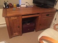 Solid Oak office desk with leather chair