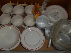 Box Of Household Items- Cups, Mugs, Bowls, Glass Dishes, etc