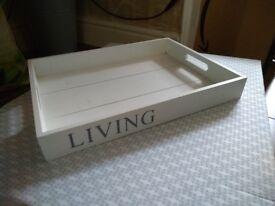 Vintage style white wooden tray