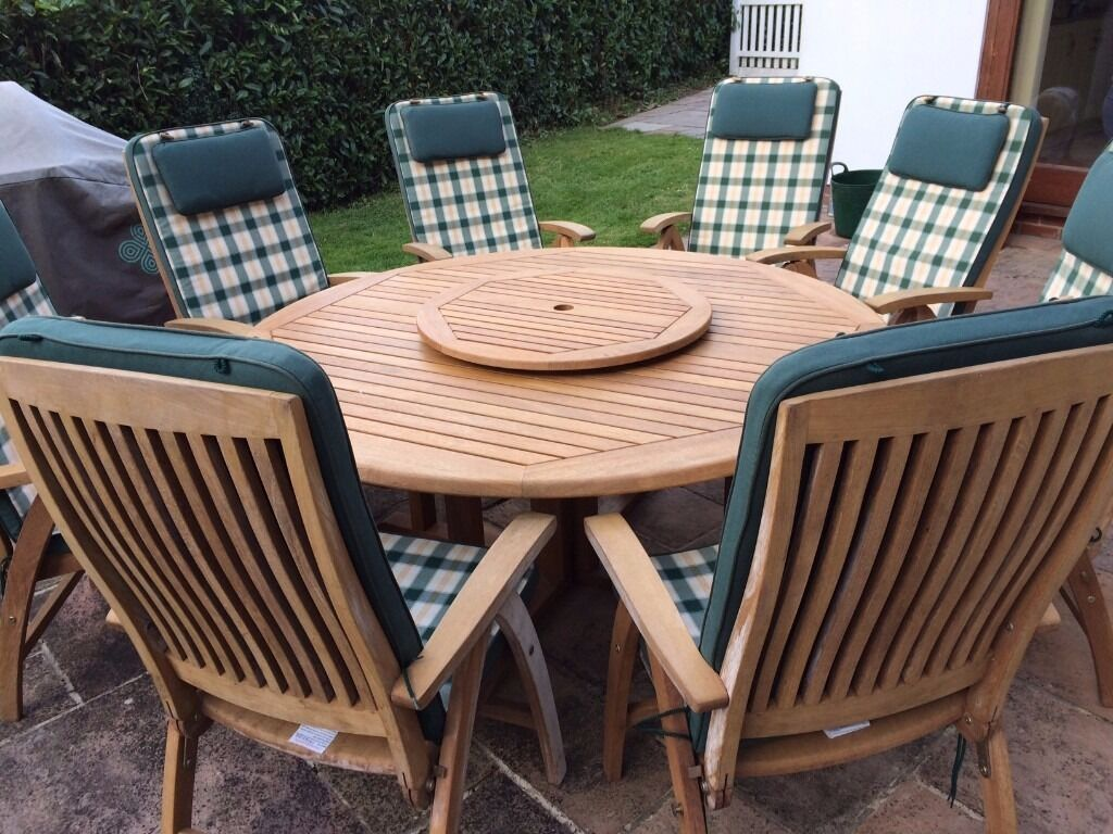 Patio Chairs Set Of 6: Nova Teak Patio Furniture Set 6-8 Seat Table With