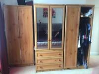 Wardrobe 3 piece Wooden wardrobe