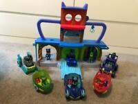 Pj masks headquarters with vehicles and characters