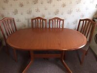 Dining room table and 4 x chairs