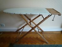 VINTAGE 50's WOODEN IRONING BOARD TICKING HEIGHT ADJUSTER