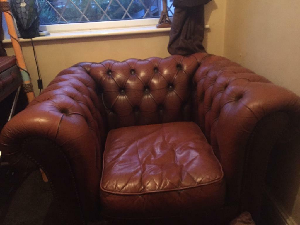 Chesterfield chair , matching footstool , side table and book sharlf