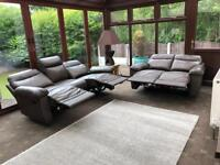 NEW Genuine Brown Leather 3 + 2 Seater Recliner Sofas RRP £1200