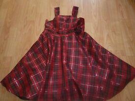 Girls Red Tartan Pattern Dress Age 7