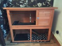 2 Tier Wooden Hutch rabbit and guinea pig. Accessories included