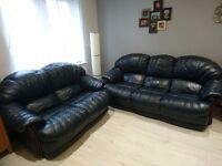 2 seater and 3 seater dark blue real leather sofas with delivery
