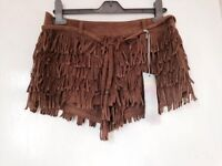 New with tags brown fringe shorts size 10