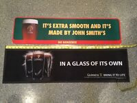 2 x bar mats/runners. ORIGINAL Guinness and John Smiths. Immaculate and very collectible. BBQ 🍗 ?