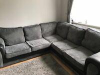 Grey and black cord corner sofa