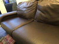 Brown leather sofa *cheap* look 70 ono