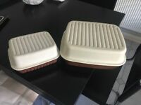 Original Tupperware large and small breadbin good condition