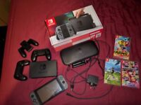 Nintendo switch grey console + 3 games & accessories