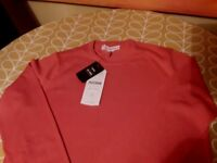 Ben Sherman BNWT crew neck jumper size M in deep coral