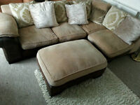 Very nice corner sofa plus matching footstool - Can deliver too
