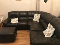 Corner leather sofa and stool