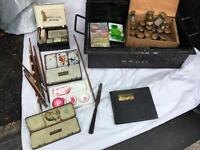 Set of Artists 1920s gilt paints water colour sets brushes