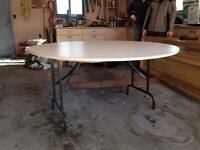 5' round tables with metal folding legs